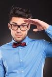 Casual fashion man making a military salute Stock Photo