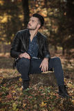 Casual fashion man sitting on a tree stump Royalty Free Stock Photography