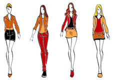 Casual fashion models. In sketch style for teenager clorh design Stock Photos