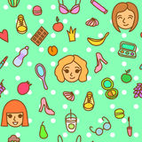 Casual fashion seamless pattern with everyday girl stuff Stock Photography