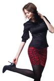 Casual fashion style woman studio portrait Royalty Free Stock Photos