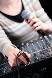 Casual Female with Audio Mixer Stock Photography