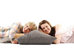 Casual female friends sharing a light moment Stock Photography