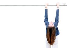 Casual female looking upside down Royalty Free Stock Photo