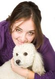 Casual Female Portrait with her dog Stock Photo