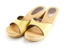 Casual female shoes on white background. Pair of casual female shoes on white background Royalty Free Stock Images