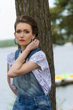 Casual female in vacation at lake Royalty Free Stock Photo