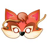 Fox mask. Carnival and masquerade accessories. Casual fox mask with strings drawn in cartoon style. Carnival and masquerade accessories. Vector illustration Stock Photo