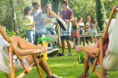 Casual garden party royalty free stock photography