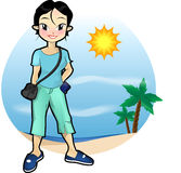 Casual Girl. With tropical scenery background Stock Photo
