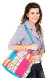 Casual girl with a bag Royalty Free Stock Images