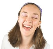 Casual girl can't stop laughing Stock Images