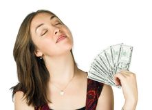Casual girl with dollars on hand Royalty Free Stock Image