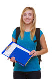 Casual girl female student with bag backpack notebook book isolated. Portrait of casual blond smiling girl in blue jeans female student with bag backpack and stock photo