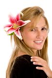 Casual girl with a flower Stock Photo