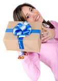 Casual girl with a gift Royalty Free Stock Images