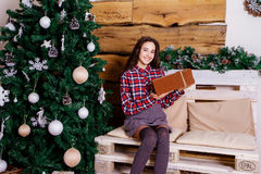 Casual girl with a gift Stock Photo