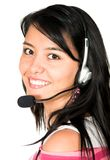 Casual girl with headset Royalty Free Stock Photos