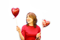 Casual Girl hearts 3 Royalty Free Stock Photos