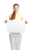 Casual girl holding a blank signboard Royalty Free Stock Photography