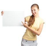 Casual girl holding a blank signboard Royalty Free Stock Images