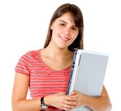 Casual girl holding laptop Royalty Free Stock Photos