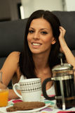 Casual girl at home take the breakfast Royalty Free Stock Image