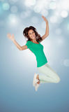 Casual girl jumping Stock Image