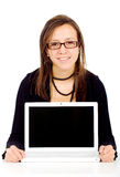 Casual girl on a laptop Royalty Free Stock Photo