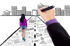Casual girl with learning doodles Royalty Free Stock Photo