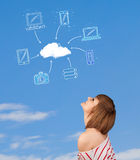 Casual girl looking at cloud computing concept on blue sky Stock Photo