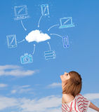 Casual girl looking at cloud computing concept on blue sky Stock Images