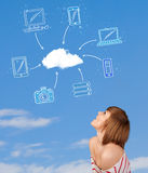 Casual girl looking at cloud computing concept on blue sky Royalty Free Stock Photos
