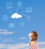 Casual girl looking at cloud computing concept on blue sky Royalty Free Stock Photography