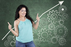 Casual girl with mechanism gear Royalty Free Stock Photography