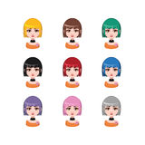 Casual girl with medium length hair - 9 different hair colors. ( flat colors Stock Photo