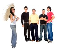 Casual girl with men Royalty Free Stock Images