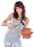 Casual girl with money box stock images