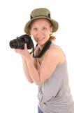 Casual girl with photocamera Stock Photos