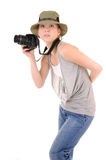 Casual girl with photocamera Royalty Free Stock Images