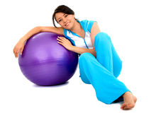Casual Girl with a pilates bal Stock Image