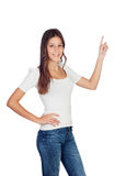 Casual girl pointing something Stock Images