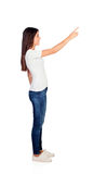 Casual girl pointing something at side Stock Photo