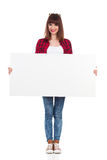 Casual Girl Is Posing With White Blank Poster Stock Photos