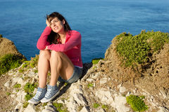Casual girl relaxing on summer travel Stock Images