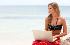 Casual girl relaxing on vacation Stock Images