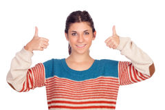Casual girl saying Ok Royalty Free Stock Photo