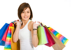Casual girl with shopping bags Royalty Free Stock Photos