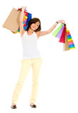 Casual girl with shopping bags Royalty Free Stock Images