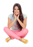 Casual girl sitting on the floor Royalty Free Stock Photo